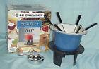 Le Creuset 2 QT Blue Riveted Compact Table Top Fondue Pot Cast Iron Accessories