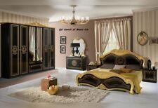 Camera da letto matrimoniale completa di rete a doghe modello Laura Nero e Oro