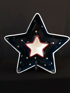 Star Shaped Patriotic Chip And Dip Serving Tray Red White Blue 4th Of July