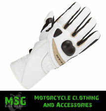 Guanti bianchi in pelle per motociclista taglia XS