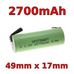 Ricambio Batteria Spazzolino 49mm x 17mm 1.2v 2700mAh Una Misura Braun Oral-B