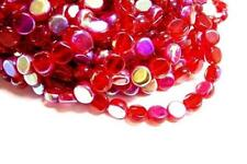 1 of 13 inch strand red Flat Round AB Color Glass Beads-2521