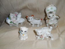 New listing 5 pc Vintage White Cat Kitten figurines Tiny Vase/Planters -Japan On Chairs