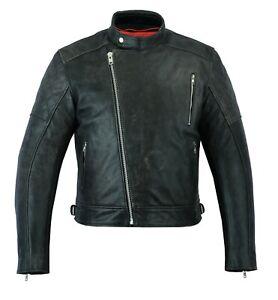 Vintage Grey High Quality Motorcycle Motorbike Cow Plain Leather Jacket