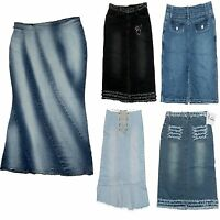 ladies long denim skirts womens pencil -style / corset syle jeans wear 8 10 12