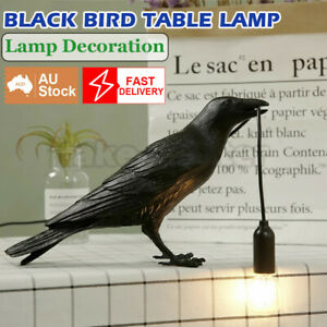BLACK Bird Table Lamps Resin Crow Desk Lamp Bedroom Light Fixtures decoration