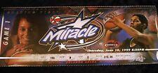 Orlando Miracle vs Houston comets WNBA inaugural game ticket 6/10/1999 no stub