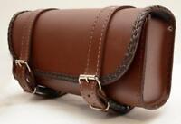 Sacoche de fourche / sac trousse rool bag à outils en Cuir rectangulaire Marron