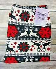 Reindeer Snowflake Leggings Christmas Holiday Printed Super Soft ONE SIZE OS