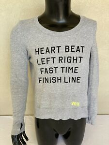 Victoria Secret Grey Jumper Womens Small Activewear Training Long Sleeve Cotton