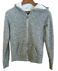 American Eagle Outfitters Gray Hoodie Jacket, Lined Hood, Size S/P