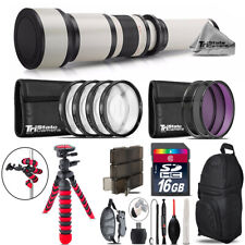 650-1300mm Telephoto Lens Nikon D3300 D3400 + Triple Tripod Bundle - 16GB Kit