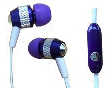 Universal Super Bass Noise-Isolation Metal 3.5mm Stereo Earbuds/ Headset -Purple