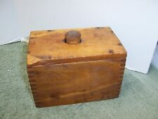 Early Primitive Butter Mold Box-Joint Construction Wooden Stamp With Design