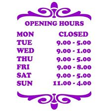 Shop, Garage, Pub etc door / window show Opening Times with this sticker sign S5