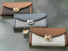 Michael Kors Fulton Flap Large Continental Leather  MK Signature Wallet Clutch