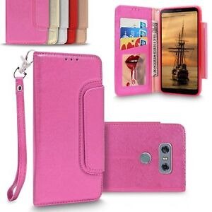 For LG G6 Luxury Mirror Leather Flip Wallet Card Slot Magnetic Purse Case Cover