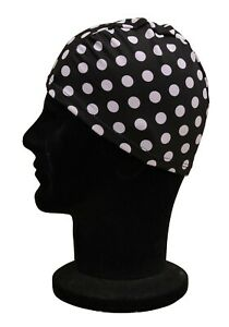 ELASTICATED Adults Polyester Stretchy Swimming Hat Off White Black Spotty Spots