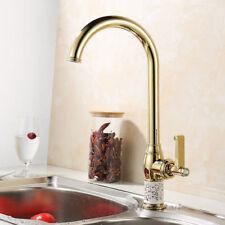 Luxury Gold Color Swivel Spout Kitchen Basin Sink Mixer Tap Single Lever Faucet