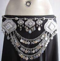 Tribal Belly Dance Coin Fringe Medallion BELT Gypsy Boho Hippie Skirt Accessory