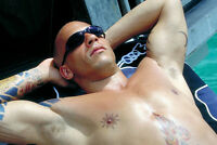 Vin Diesel 11x17 Mini Poster barechested hunky pose with tattoos sunglasses