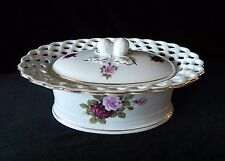 Royal Tri Ever DIANA ROSE BASKET WEAVE PORCELAIN TRINKET DRESSES DISH