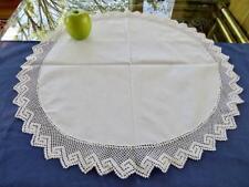 "Antique Linen Center Greek Key Crochet Lace Trim 22""Round Centerpiece Tray Doily"