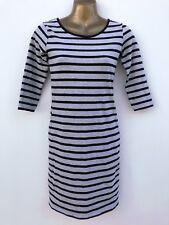 MISO Striped Jersey Pencil Dress Size 8 Black Marl Grey Cotton Elastane WORNONCE