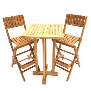 Teak Wood High Table & 2 Teak Bar Stools Set Bar Furniture Cocktail Table