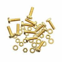 12 Schrauben M3 x 10 mm Messing DIN85 + Muttern + Unterlegscheiben