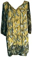 White Stuff Women's Dress Green Blue Size 16 Shift Floral Casual Pockets VGC