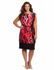 Anne Klein S 6 Pink Black Red Shift dress Career Cocktail Excellent Floral Print