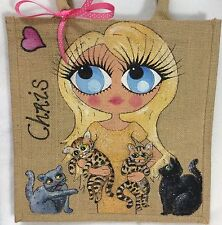 Personalised Handpainted Jute Cat Lovers Handbag Hand Bag With Up To 4 Cats