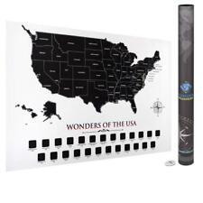 "USA Scratch Off Map | 24""x16"" Premium Quality Black and White Minimalist USA Map"