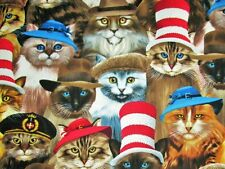 Timeless Treasures Cats in Hats by Michael Searle Novelty Cotton Fabric BTY