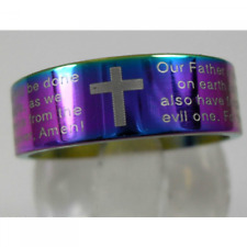 MENS English Lords Prayer Bible Ring religious band 8mm wide Rainbow 316 ss UK N