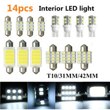14pcs White Car Interior COB LED Lights Dome Lamp T10 & 31mm 42mm Bulbs Lamps