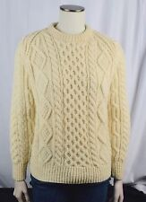 LANDS END Irish Wool Hand Knit Aran Cable Fishermens' Pullover Sweater M Medium