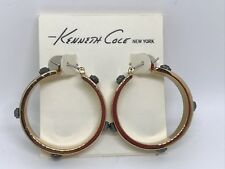 ~NWT!~$28~KENNETH COLE new york~ SHINY GOLD BOLD HOOP EARRINGS~GUNMETAL ACCENTS~