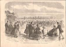 Paris Napoleon III Eugenie Club Patineur Bois de Boulogne GRAVURE OLD PRINT 1867