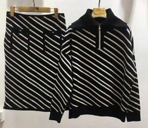 Women Autumn/Winter Knitting Top+Skirt Suits