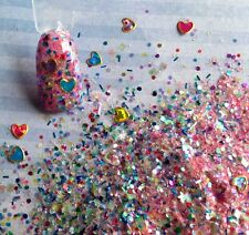 glitter mix acrylic gel nail art  ALL HEART Valentine