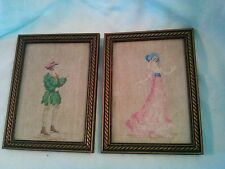 Vintage PAIR Framed Finished Needlepoint Renaissance Couple