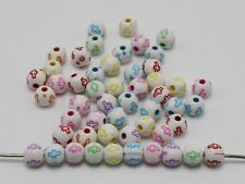 500 Mixed Color Acrylic Cross Pattern Round Spacer Beads 6mm Jewelry Kids Crafts