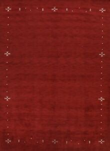 Contemporary Bordered Gabbeh Oriental Area Rug Hand-Knotted Wool RED Carpet 9x12