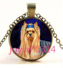 Vintage Cute Dog Cabochon bronze Glass Chain Pendant Necklace TS-4395