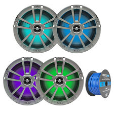 "4x Infinity Reference 8"" Marine LED Speakers - Titanium, 16-G 50 Ft Tinned Wire"
