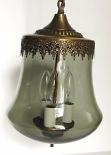 Vintage Hanging Pendant Light Ceiling Fixture with Smoked Glass Globe