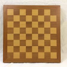 """VINTAGE 1950-60s Natural Wood CHESS BOARD ~ 14"""" x 14"""" ~ Does not Fold"""