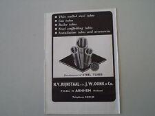 advertising Pubblicità 1955 STEEL TUBES N.V. RIJSTAAL V.H. J.W. OONK - ARNHEM